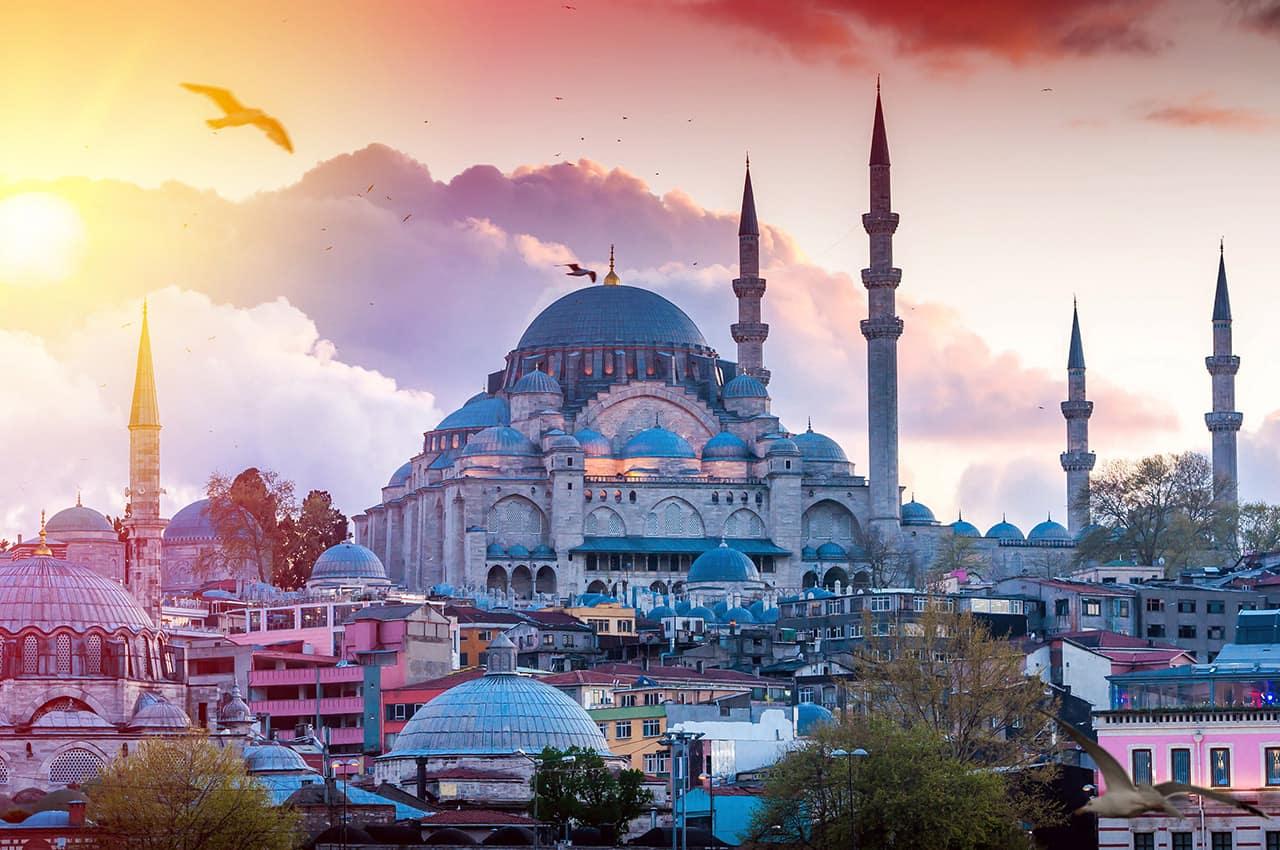 Vista da Mesquia Sultan Ahmed - Istambul, Turquia.