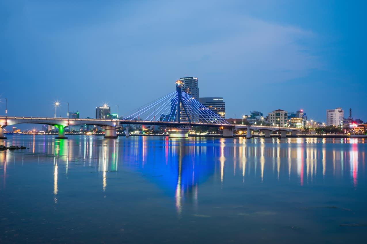 Vista panorâmica Rio Han Da Nang, Vietnã