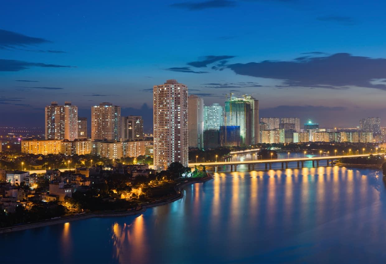 Vista rio prédios, Hanói, capital Vietnã