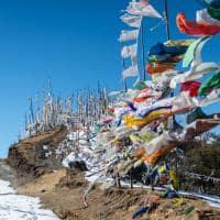Trilha orações Montanha Himalaia Butão