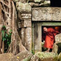 Monge explorando as ruínas de templo no Camboja