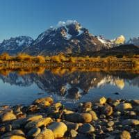 Vista picos Torres del Paine Lago Grey Chile