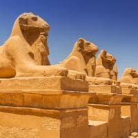 Detalhes no Templo Karnak, Luxor.