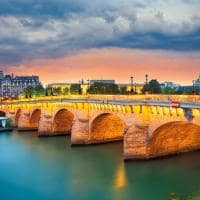 Image of the pont neuf the oldest standing bridge across the river seine in paris