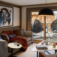 Six senses courchevel sala de estar two bedroom apartment mountain view