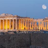 Parthenon ao anoitecer - Atenas, Grécia.