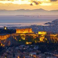 Parthenon ao pôr-do-sol - Atenas, Grécia.