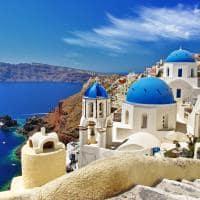Vista caldeira abóbadas, Santorini, Grécia