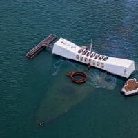 Vista aérea do memorial Pearl Harbor - Honolulu, Havaí.