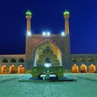 Vista noturna da Mesquita Jameh - Isfahan, Irã.