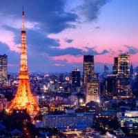 Vista aérea torre cidade Tóquio, Japão