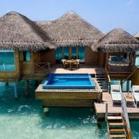 Huvafen fushi lagoon bungalow with pool exterior