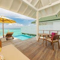 Siyam world maldives deck lagoon villa with pool slide