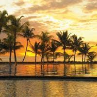 Por-do-sol piscina Trou Aux Biches