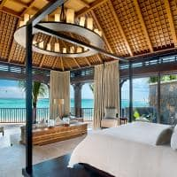 st regis villa master bedroom with view on the lagoon
