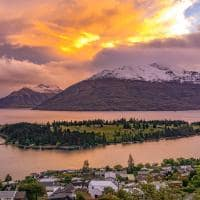 Vista de Queenstown ao entardecer