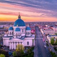 Vista aérea da Catedral Trinity - São Petersburgo, Rússia.