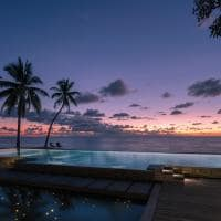 Beach pool sunset seychelles