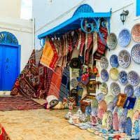 Mercado de tapetes - Sidi Bou Said, Tunísia.