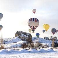 Voo balão neve Capadócia, Turquia