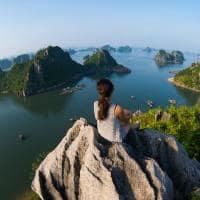 Vista aérea, Halong Bay, Vietnã
